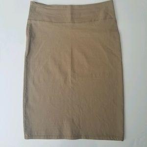 Womens Pencil Skirt Tan Bodycon Size L